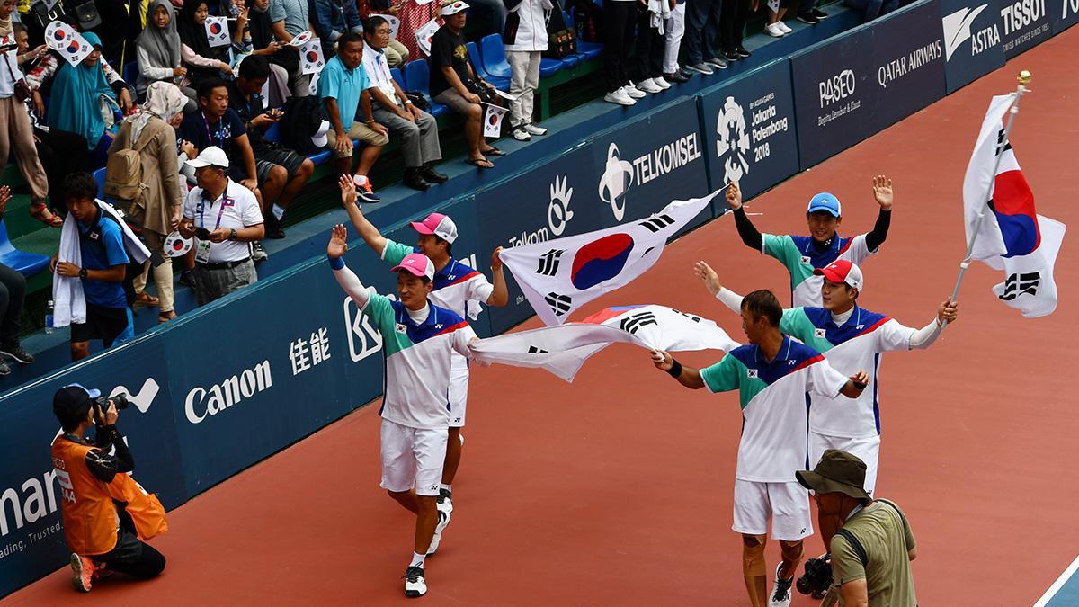 アジア競技大会ソフトテニス競技,asian games2018,国別対抗団体戦,韓国男子金メダル