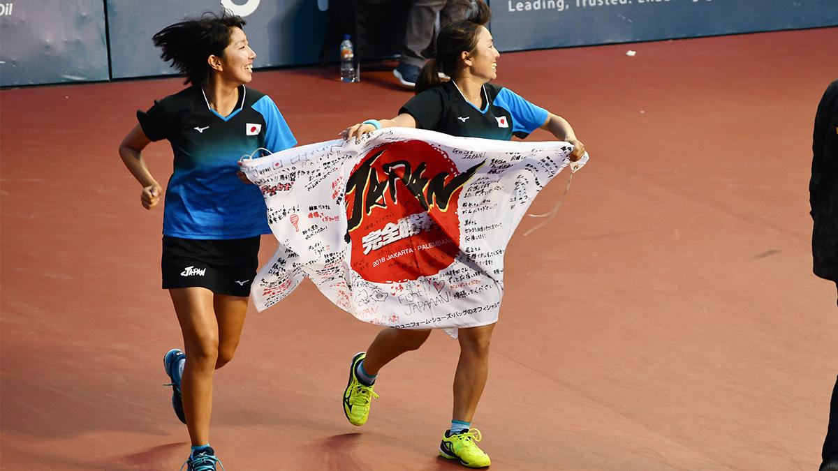 アジア競技大会ソフトテニス競技,asian games2018,国別対抗団体戦,日本女子金メダル