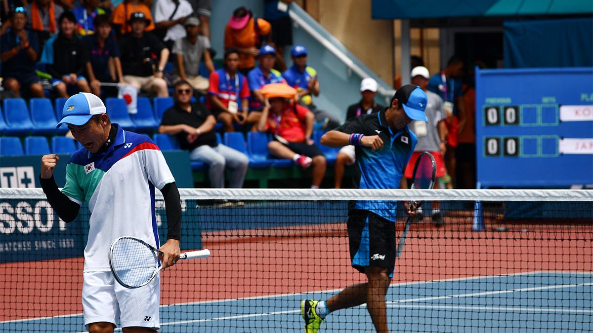 アジア競技大会ソフトテニス競技,asian games2018,丸中大明・キムボムジュン