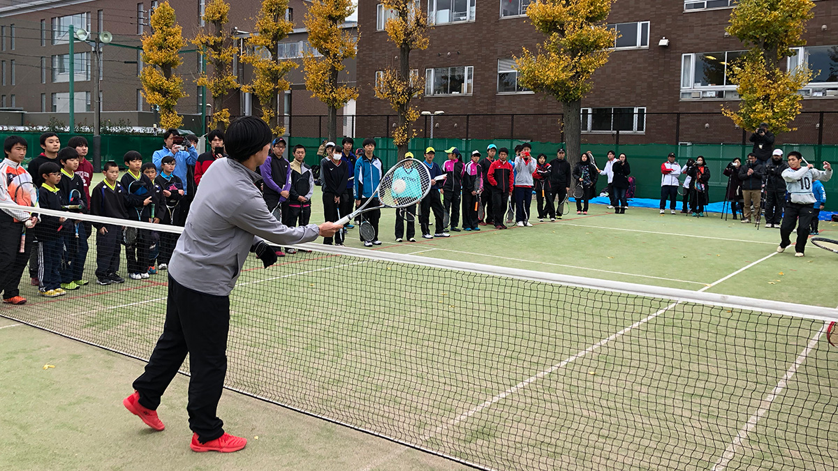 ソフトテニス講習会,早稲田大学,上松俊貴,高倉和毅