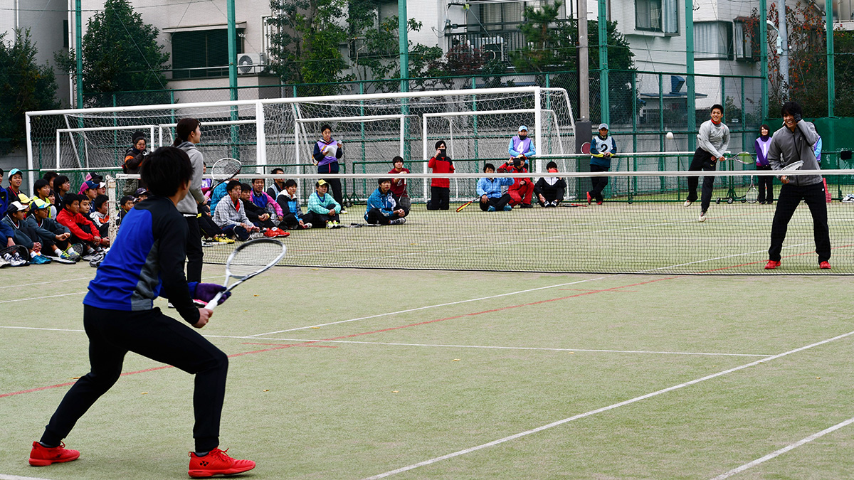 ソフトテニス講習会,早稲田大学,船水佐々木,高倉上松