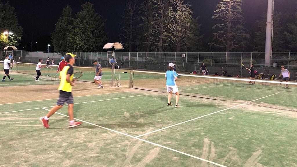 武蔵小杉ソフトテニス練習会,ナイター練習,神奈川県川崎市