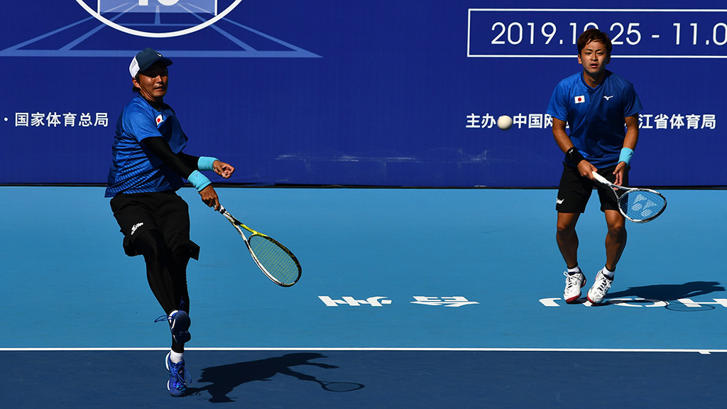 船水颯人・中本圭哉,2019ソフトテニス世界選手権,国別対抗団体戦(日本-韓国戦)